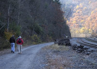 Trail along the train tracks